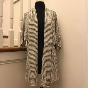 NWOT LOFT White & Black Open Cardigan Size Medium